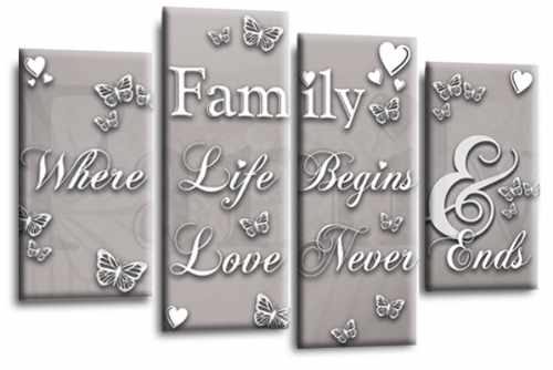 Family Quote Canvas Wall Art Picture Print Powder Grey White
